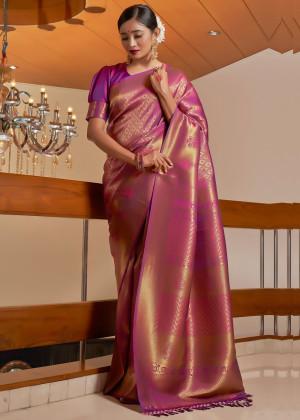 Magenta Woven Kanjivaram Silk Saree