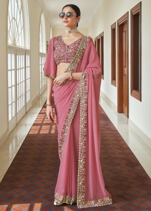 Pink Organza Silk Saree With Blouse
