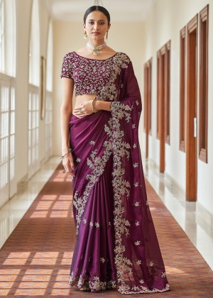 Purple Organza Silk Saree With Blouse