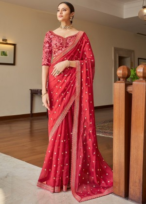 Red Organza Saree With Blouse