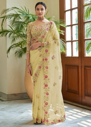 Lime Yellow Organza Saree With Blouse