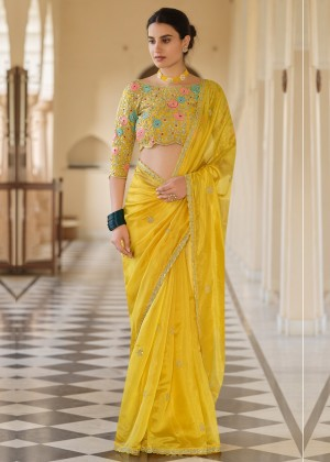 Yellow Embroidered Designer Organza Saree