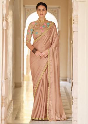 Beige Embroidered Organza Indian Saree