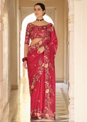 Red Embroidered Organza Saree