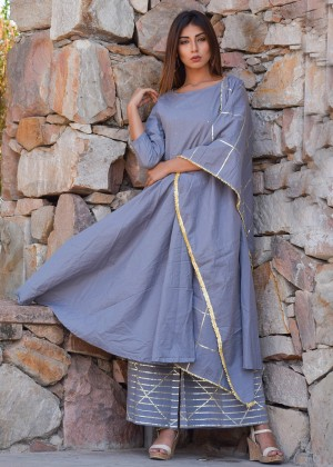 Grey Cotton Palazzo Suit Set