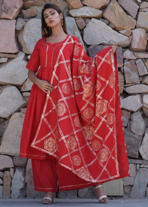 Red Cotton Palazzo Suit Set