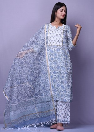 Grey and White Block Printed Suit Set