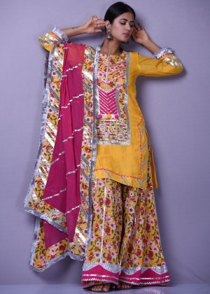 Indian Paridhan - Readymade Yellow Floral Printed Palazzo Suit
