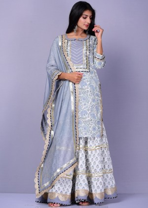 White Readymade Floral Block Print Sharara Suit