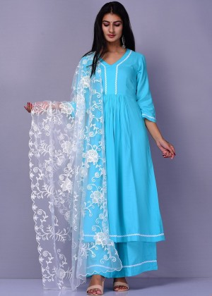 Readymade Blue Palazzo Suit With Embroidered Dupatta