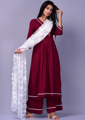 Readymade Maroon Palazzo Suit Set With Dupatta