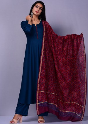 Readymade Blue Palazzo Suit Set With Dupatta