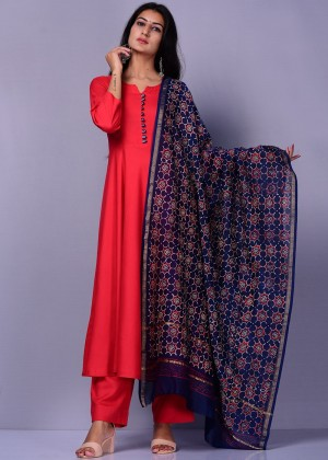 Red Readymade Palazzo Set With Dupatta