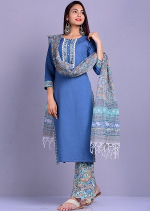 Blue Readymade Linen Pant Suit Set