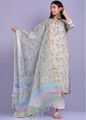 Light Green Readymade Cotton Palazzo Suit