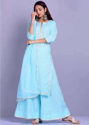 Readymade Turquoise Cotton Palazzo Suit Set
