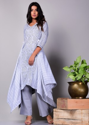 Readymade Grey Asymmetrical Cotton Kurta Set