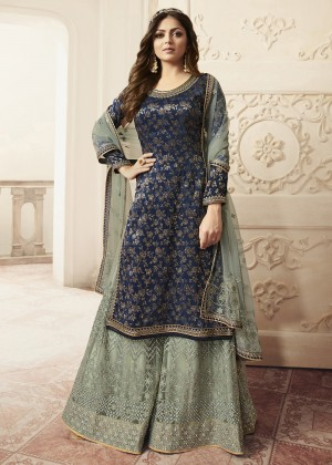 Navy Blue Jacquard Silk Embroidered Sharara Suit