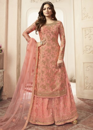 Peach Jacquard Embroidered Pakistani Sharara Suit