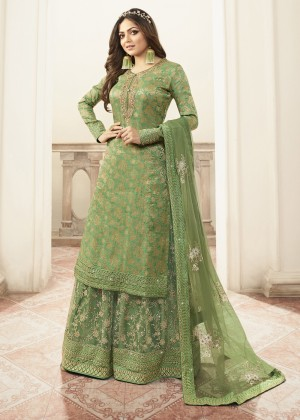 Green Jacquard Silk Embroidered Sharara Suit