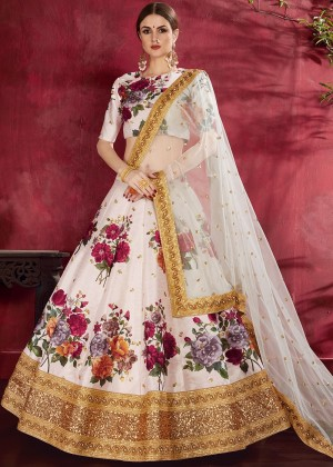 White Floral Print Lehenga Choli With Dupatta