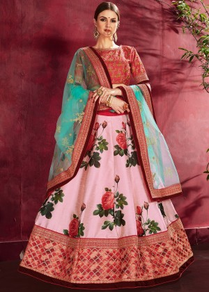 Pink Digital Floral Print Art Silk Lehenga Choli