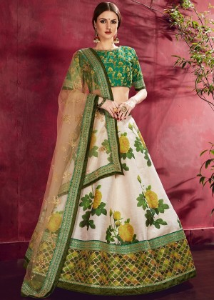 White And Green Floral Print Lehenga Choli