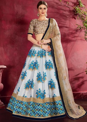 White And Blue Digital Floral Print Lehenga Choli