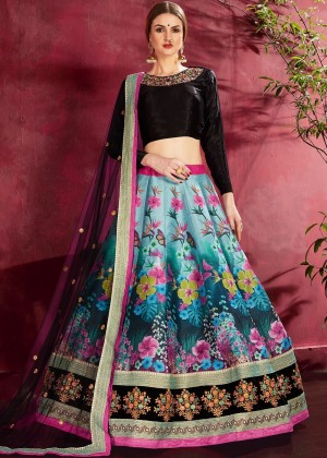 Blue Floral Print Lehenga Choli With Dupatta