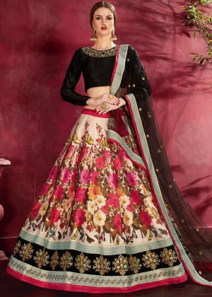 Cream Digital Floral Print Lehenga Choli