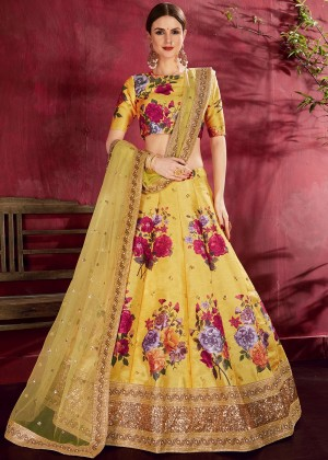 Yellow Floral Print Lehenga Choli With Dupatta