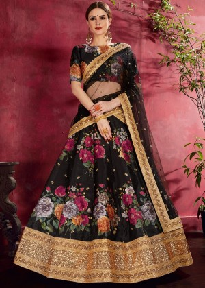 Black Digital Floral Print Art Silk Lehenga Choli