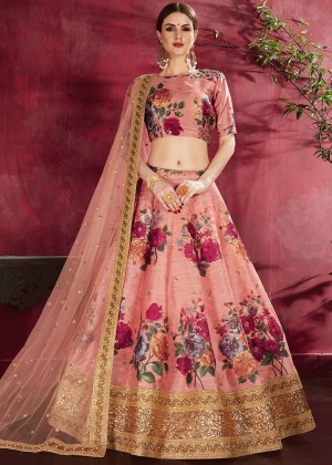 Peach Floral Print Lehenga Choli With Dupatta