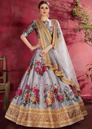 Grey Floral Print Lehenga Choli With Dupatta