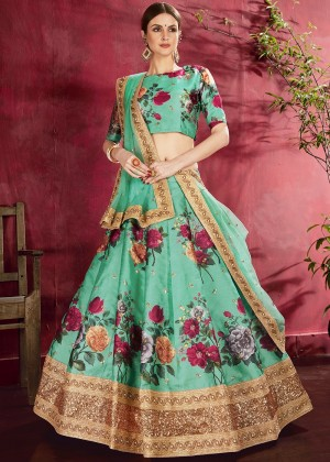 Sea Green Floral Print Lehenga Choli With Dupatta