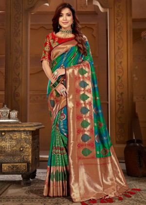 Green Jacquard Silk Woven Bridal Saree