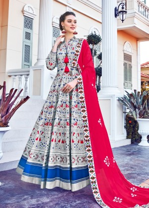 Grey Readymade Printed Anarkali Suit