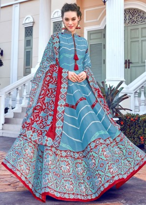 Blue Readymade Printed Anarkali Suit