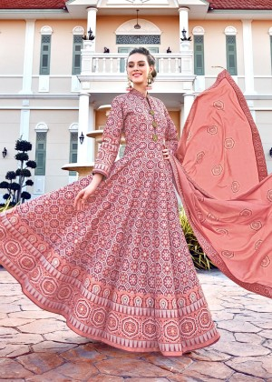 Peach Readymade Printed Anarkali Suit