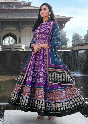 Purple Readymade Silk Anarkali Suit