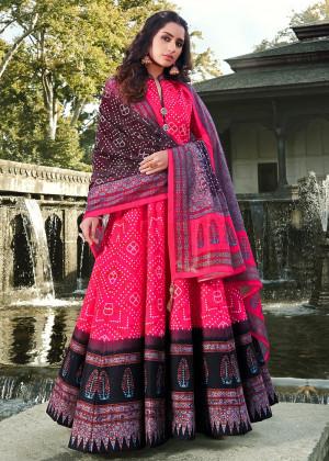 Pink Readymade Silk Anarkali Suit