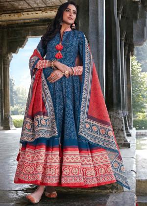 Blue Readymade Silk Anarkali Suit