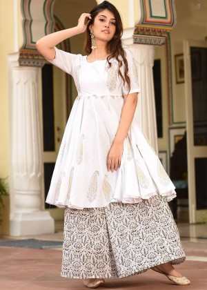 White Readymade Cotton Printed kurta Palazzo Set