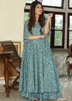 Blue Readymade Cotton Printed kurta Set