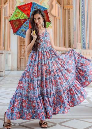 Blue Floral Block Print Readymade Dress