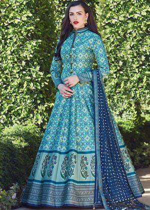 Blue Readymade Printed Anarkali Suit