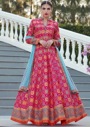 Pink Readymade Printed Anarkali Suit