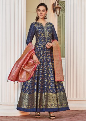 Royal Blue Readymade Anarkali Salwar Suit