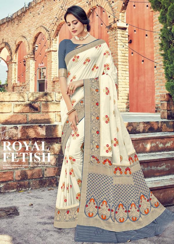 Off White Dola Silk Indian Sari With Blouse