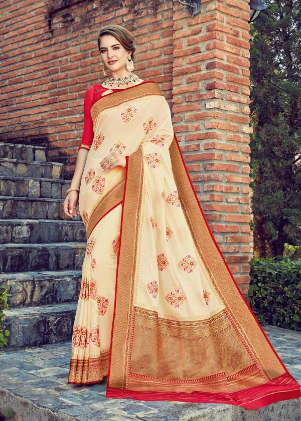 Cream Dola Silk Indian sarees USA With Blouse
